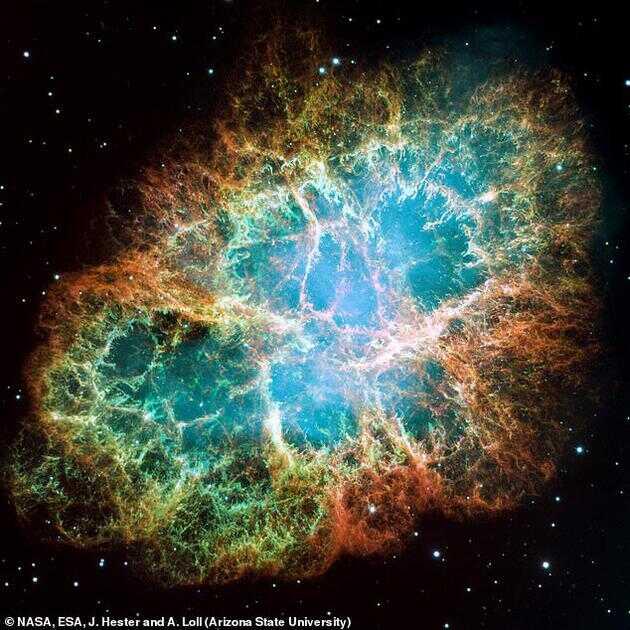 蟹状星云,此次发现的超高能级光子就来自于这里,这是一个超新星爆发的遗迹