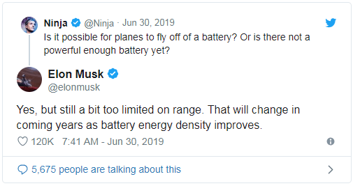 "Twitter 网友:""用电池让飞机起飞有可能吗?或者说,目前没有一种有足够动力的飞机吗?""马斯克:""是的,虽然有所改进,但续航里程仍十分有限。但在未来数年,随着电池能力密度的提高,这一切都将改变。"""