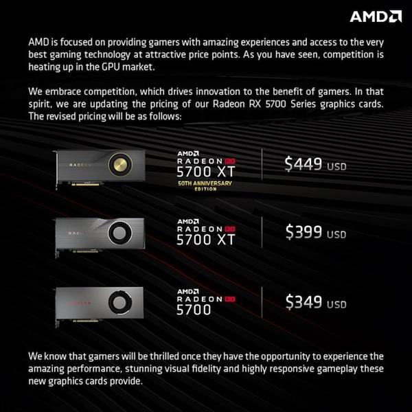 AMD RX 5700 显卡最新售价曝光:349 美元起?