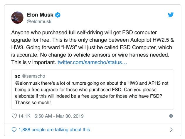 马斯克推文:任何购买了全自动驾驶软件套餐的车主都可以免费升级到 FSD 计算机。这是 Autopilot HW2.5 和 HW3 之间的唯一区别,FSD 计算机更加精确。其他车辆传感器或配线等没有更改。这很重要。