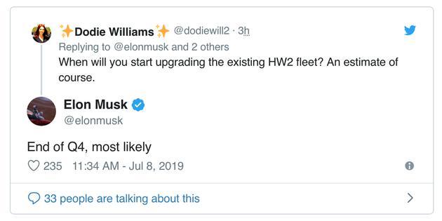 问:您什么会开始更新现有的 HW2 车辆?马斯克:大概率是在第四季度末。