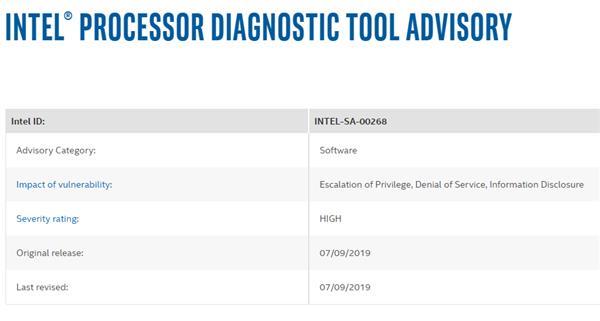 Intel 处理器诊断工具爆出漏洞:高危级别赶快升级