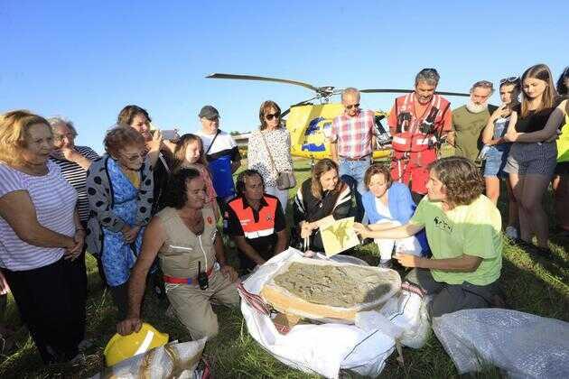 古生物学家用直升机搬运阿斯图里阿斯的足迹化石
