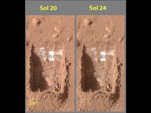 美国凤凰号探测器在火星靠近北极地区发掘出的水冰物质