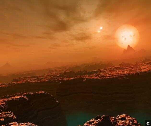 艺术示意图:系外行星 Gliese 677 上可能看到的景象。这颗系外行星同样位于一个三恒星系统中,距离地球大约 22 光年