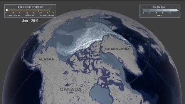 图为 2019 年 1 月第一周的北极海冰覆盖情况,存在时间超过四年的海冰面积只有 11.6 万平方公里。