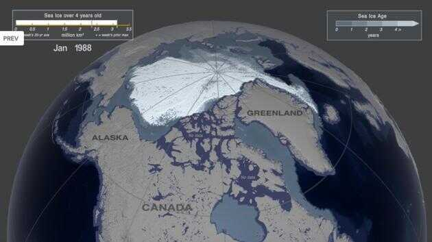 图为 1988 年 1 月第一周的北极海冰覆盖情况,存在时间超过四年的海冰面积约为 312 万平方公里。