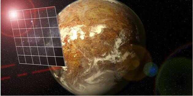 """图为""""突破摄星""""项目探测器抵达潜在的类地行星比邻星b的概念图。飞船光帆的一角可以看到代表激光的线条"""