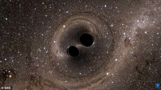 对于 2016 年发现的合并黑洞(想象图),如果将碰撞的黑洞改为暗能量泛型体,其质量变化将会更容易解释