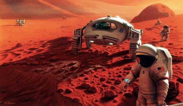 这张图片展示了一位艺术家描绘的载人火星任务。遗传学家克里斯·梅森最近表示,人类有朝一日或许能用通过基因工程来减少太空旅行和定居火星的风险