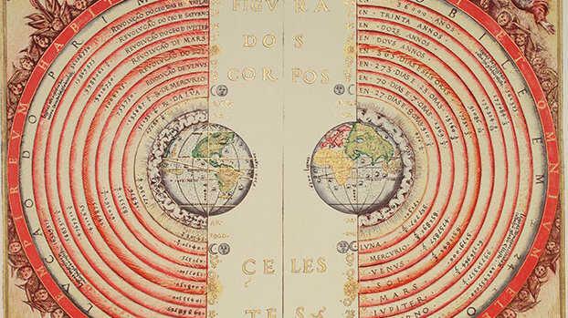 图为葡萄牙宇宙学家和制图师巴尔托洛梅乌·维力乌(Bartolomeu Velho)在 1568 年绘制的地心说宇宙模型。而如今我们知道,就连太阳系在银河系中的地位都无足轻重,更别提地球了。
