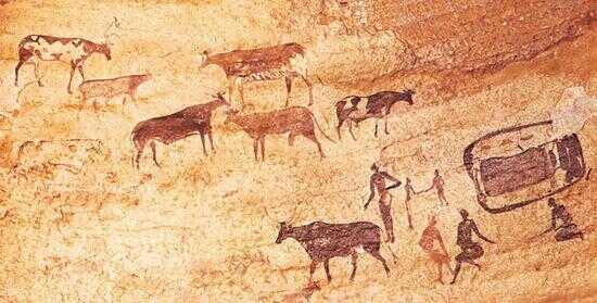 (阿尔及利亚 Tassili-n-Ajjer 岩画中的牧民和牲畜)
